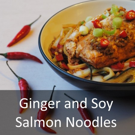 Ginger and Soy Salmon Noodles Featured