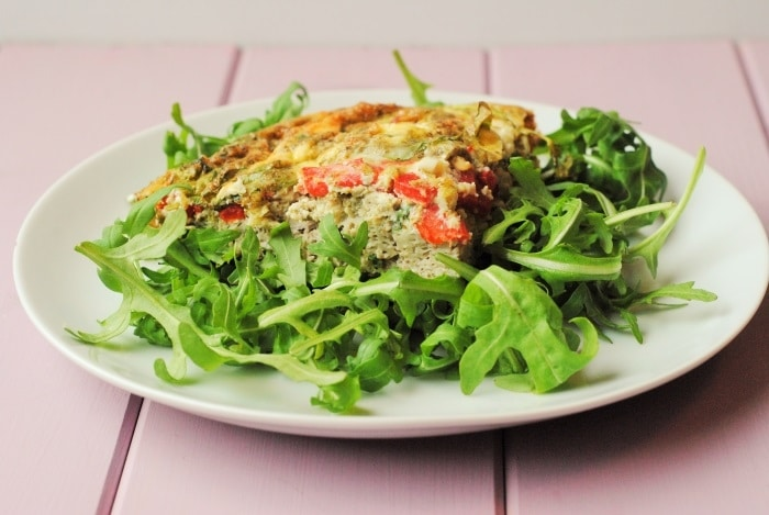 Roasted Red Pepper and Pesto Frittata 4