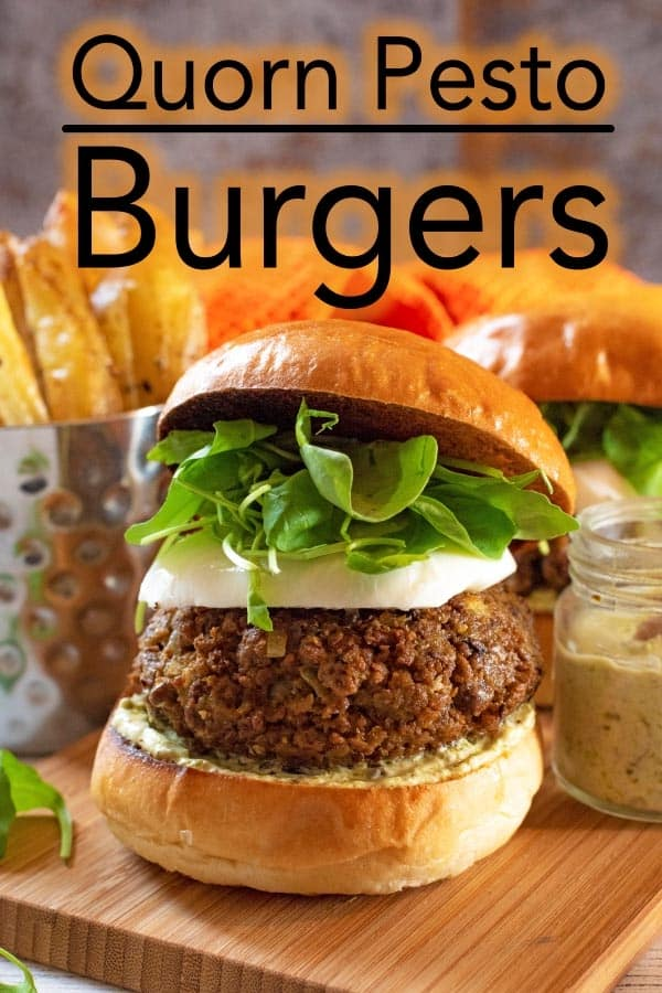 Homemade burgers are so easy to make that you will never want to go to the drive-thru again. This Quorn Burger Recipe is lower in calories and fat than the average burger, full of flavour and a great way to eat less meat through the week (which is better for the environment). Kids will love them too, so they are perfect for the back to school meal plan. #quorn #quornburger #vegetarian #vegetarianburger #pesto #pestoburger #burger