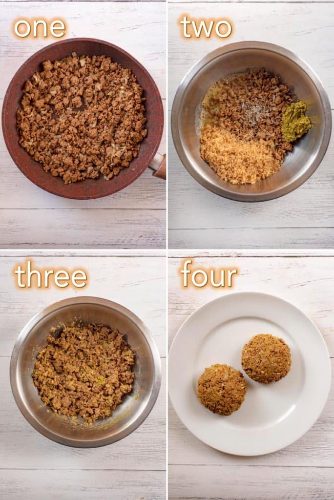 Four steps to making Quorn Pesto Burgers