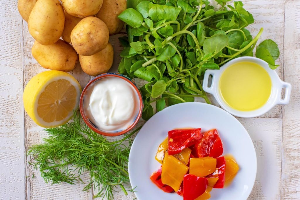 Roasted Creme Fraiche Potatoes with Watercress ingredients