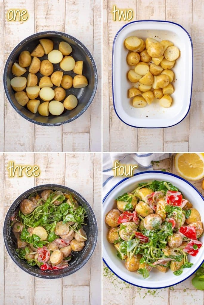 Roasted Creme Fraiche Potatoes with Watercress steps