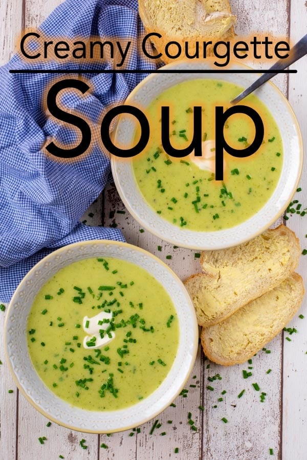 If you are looking for a light and filling soup that is low in calories, then this Creamy Courgette (Zucchini) Soup is for you. It is a mere 68 calories for a large bowl and can easily be made vegan too. This Courgette Soup is a great way to use up a lot of courgettes if you have them growing in your garden. #soup #vegetarian #courgettesoup #zucchinisoup #healthysoup #homemade