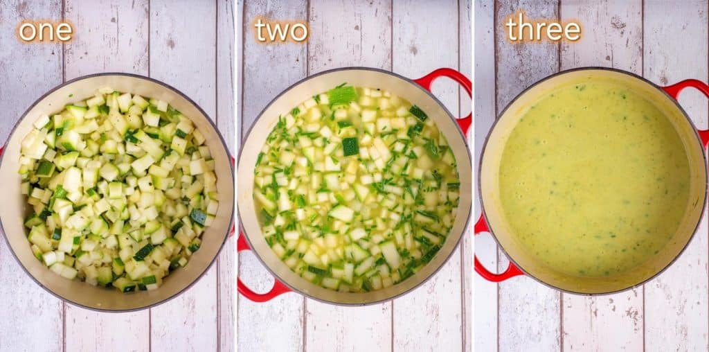 Three steps to making Creamy Courgette Soup