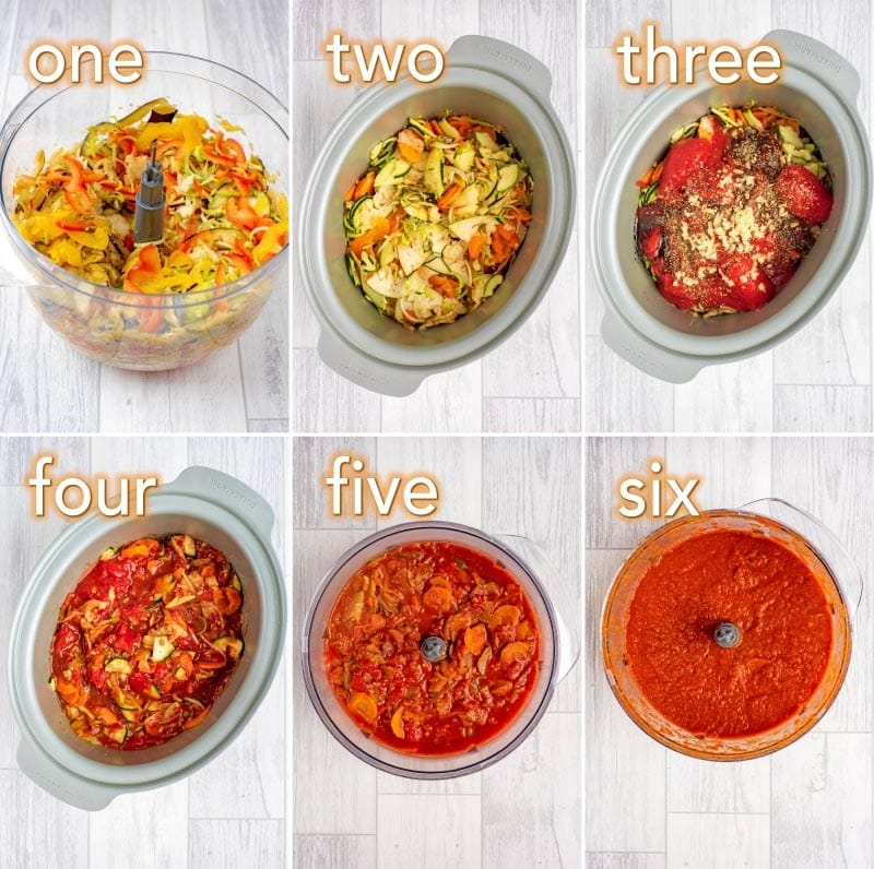 step by step process of making Slow Cooker Hidden Vegetable Pasta Sauce