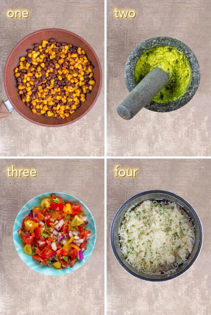 Four steps to making burrito bowl ingredients