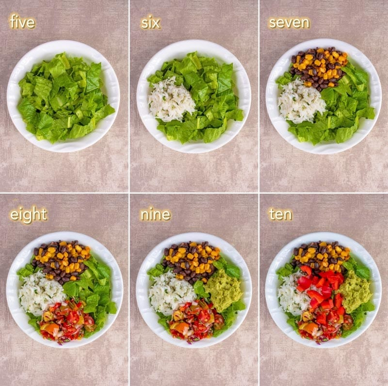 Six steps to making a vegan burrito bowl