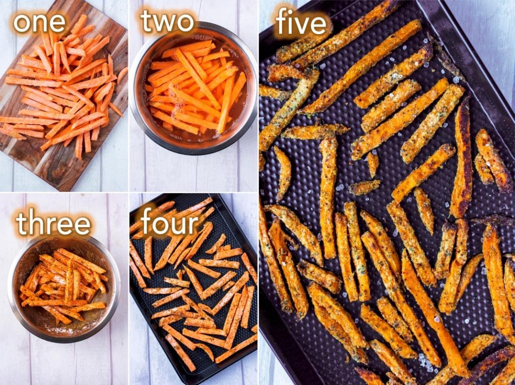 Step by step process of how to make Baked Sweet Potato Fries