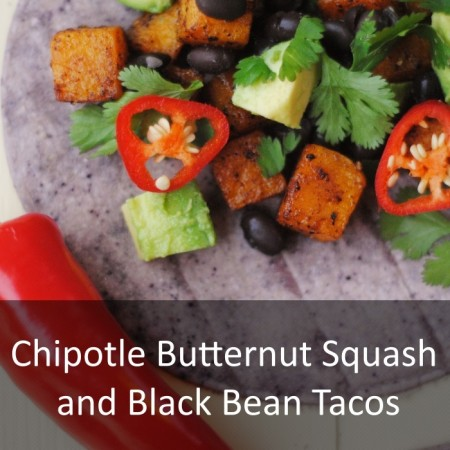 Chipotle Butternut Squash and Black Bean Tacos Featured