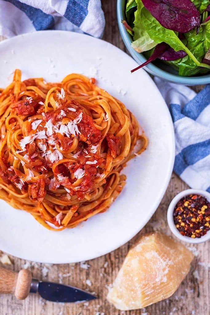 A plate of tagliatelle in an easy tomato pasta sauce