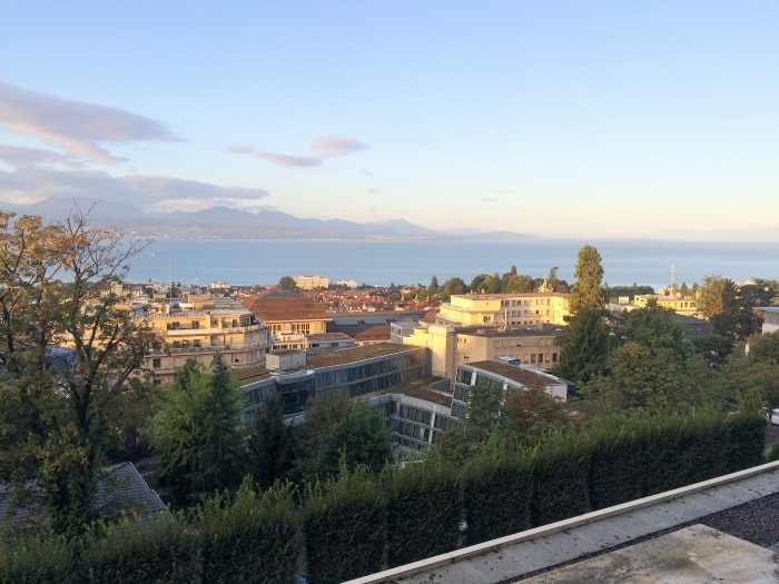 Overlooking the Lausanne skyline with the Alps in the distance