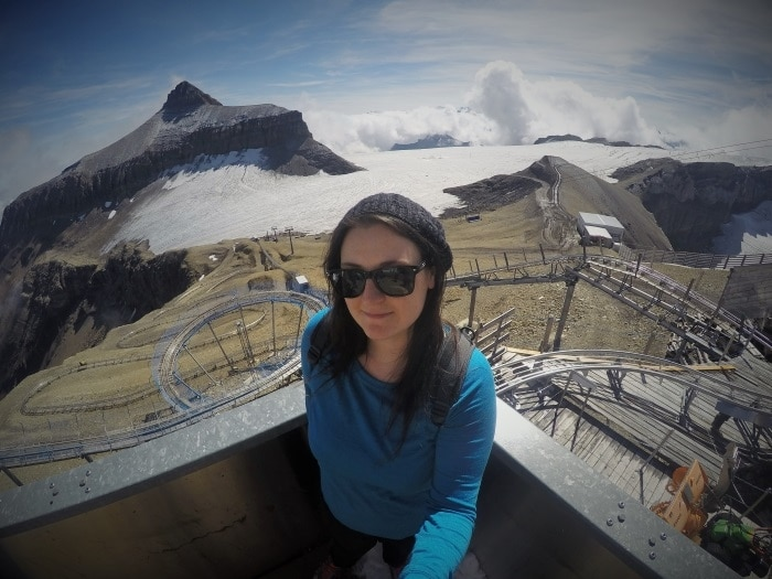 A selfie of Dannii with the Alpine Coaster track behind her