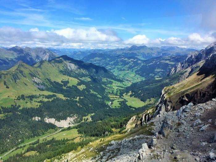 A Swiss valley as viewed from the top of a mountain