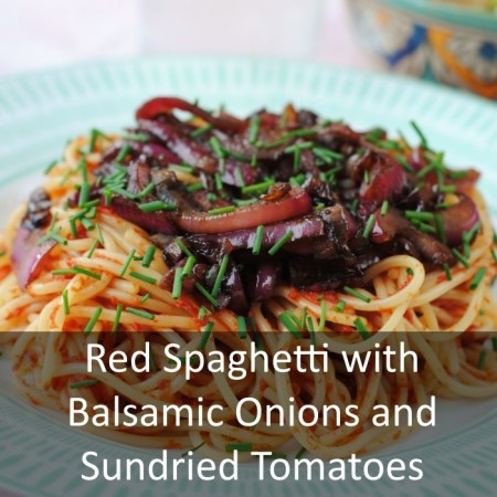 Red Spaghetti with Balsamic Onions and Sundried Tomatoes Featured