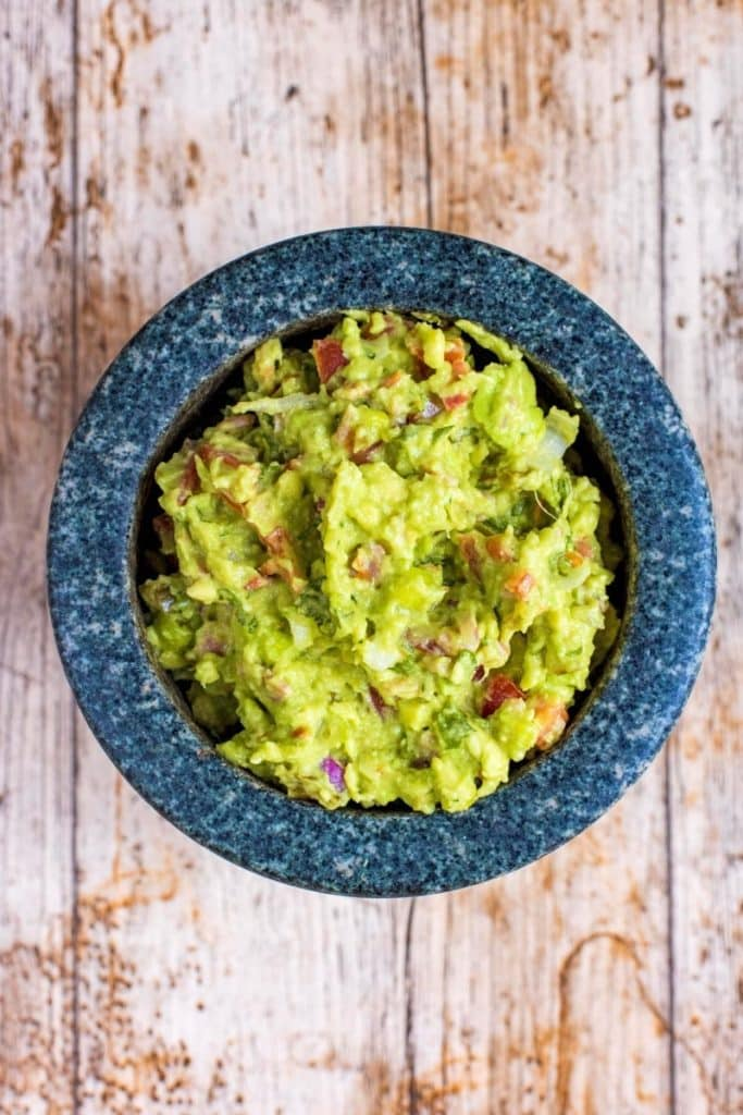 Guacamole in a stone mortar