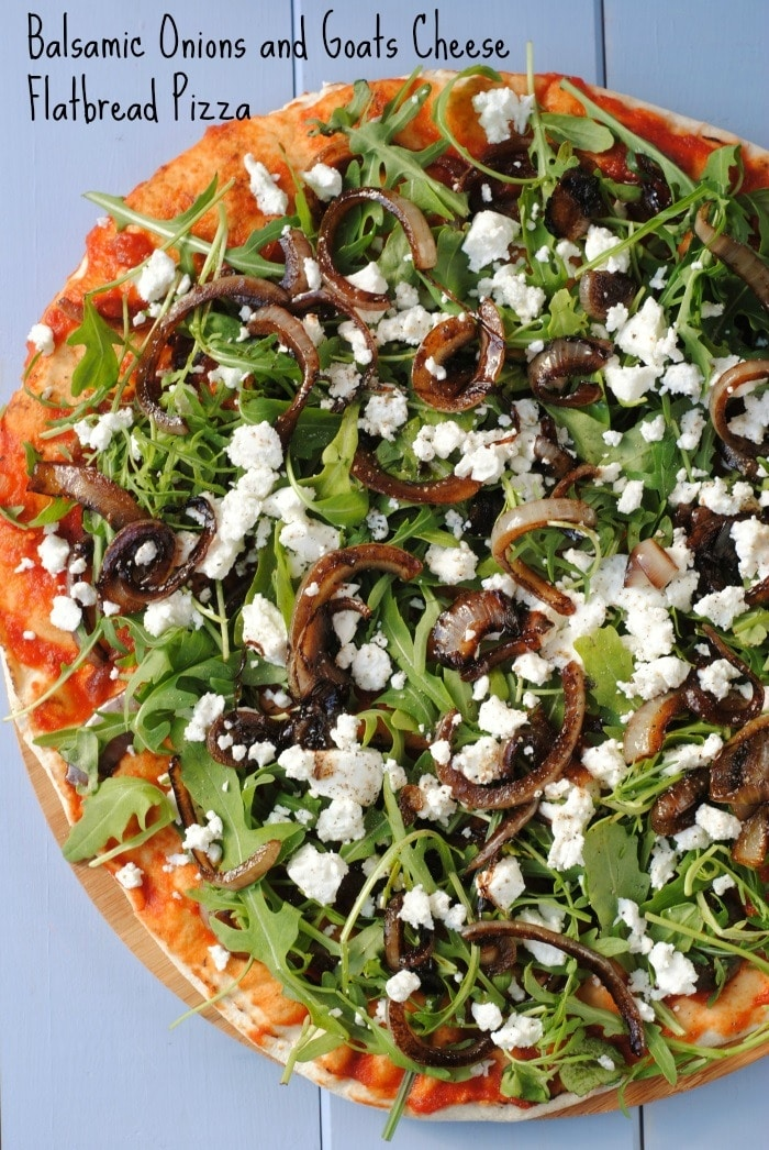Balsamic Onions and Goats Cheese Flatbread Pizza - Hungry Healthy ...