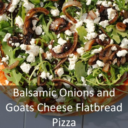 Balsamic Onions and Goats Cheese Flatbread Pizza Featured