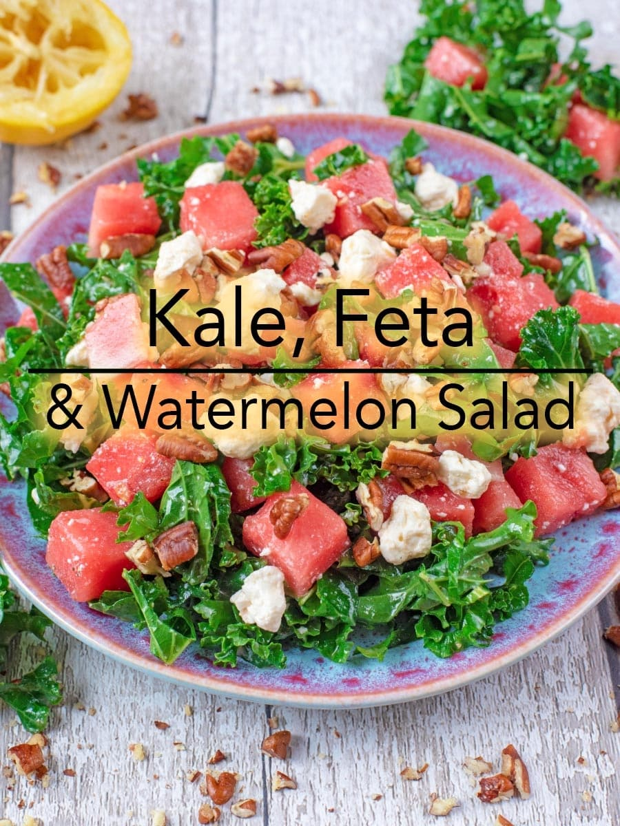 We are firm believers that salads never have to be boring. If you think they are, then you aren't making them right. This Kale, Feta and Watermelon Salad is refreshing, super simple and packed full of all the good stuff. With its sweet and salty combination, it's the perfect side dish for your next BBQ. #salad #kalesalad #watermelonsalad #kale
