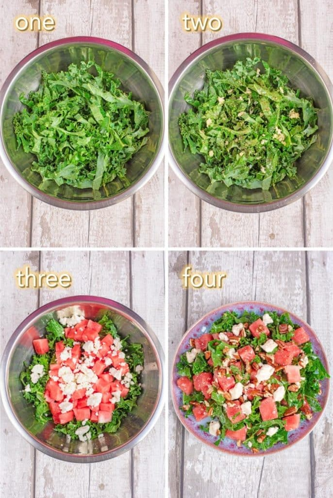 Four steps to making a Kale, Feta and Watermelon Salad