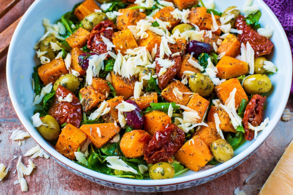 Roasted Butternut Squash Salad in a large white bowl