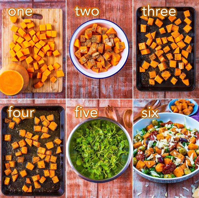 step by step process of how to make Roasted Butternut Squash Salad
