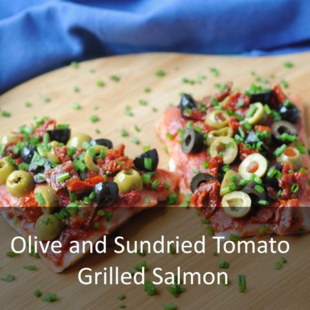 Olive and Sundried Tomato Grilled Salmon Featured