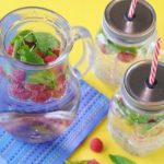 Raspberry and Mint Water in a large glass jug