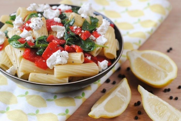 Roasted Red Pepper, Spinach and Goats Cheese Pasta 3