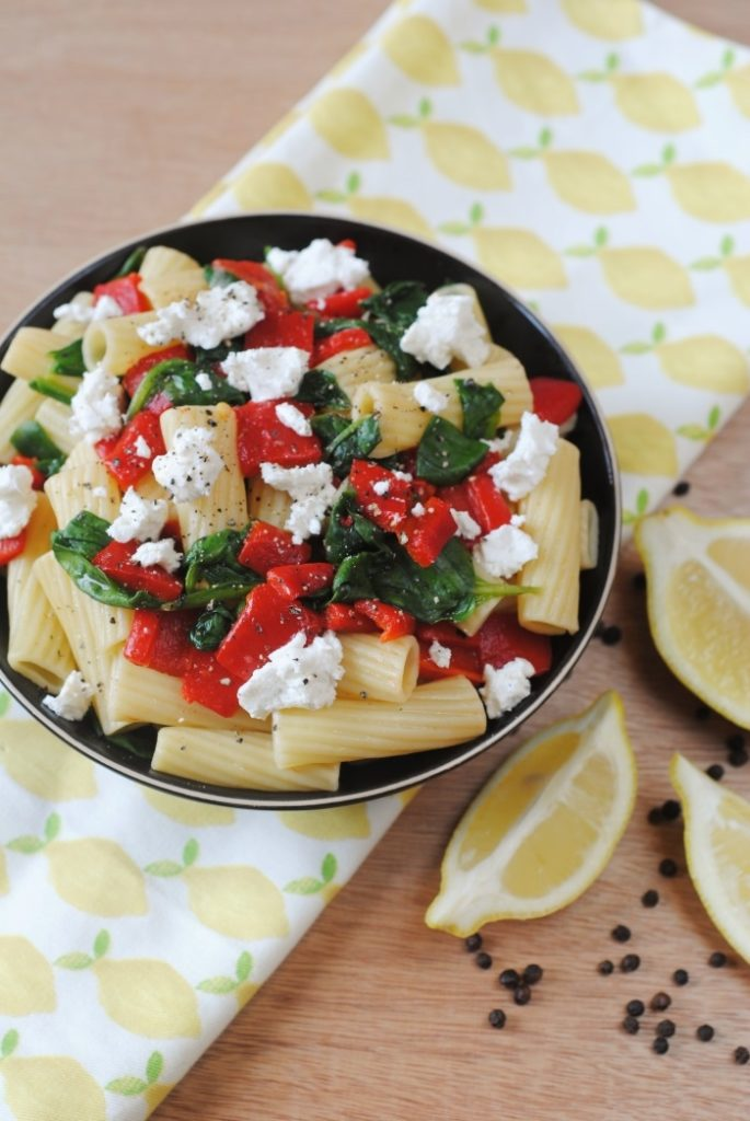 Roasted Red Pepper, Spinach and Goats Cheese Pasta 5