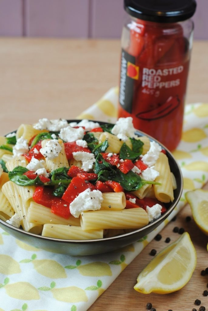 Roasted Red Pepper, Spinach and Goats Cheese Pasta 6