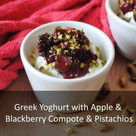 Greek Yoghurt with Apple and Blackberry Compote and Pistachios Featured