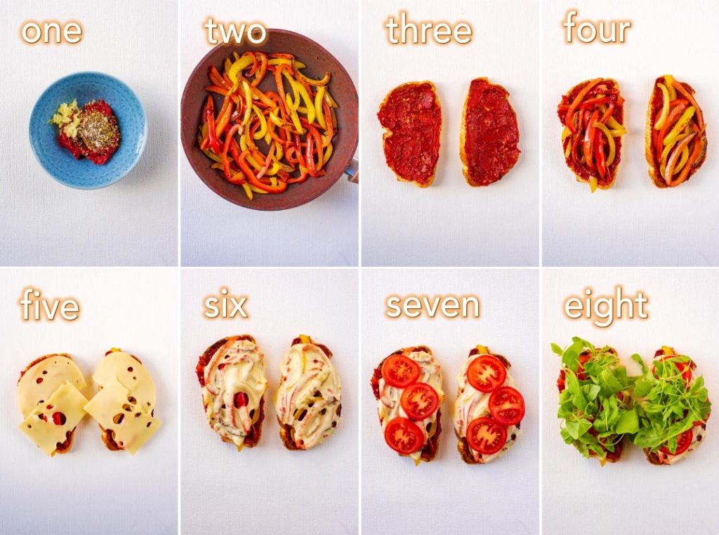 Step by step process of how to make Vegetable Pizza Sandwich