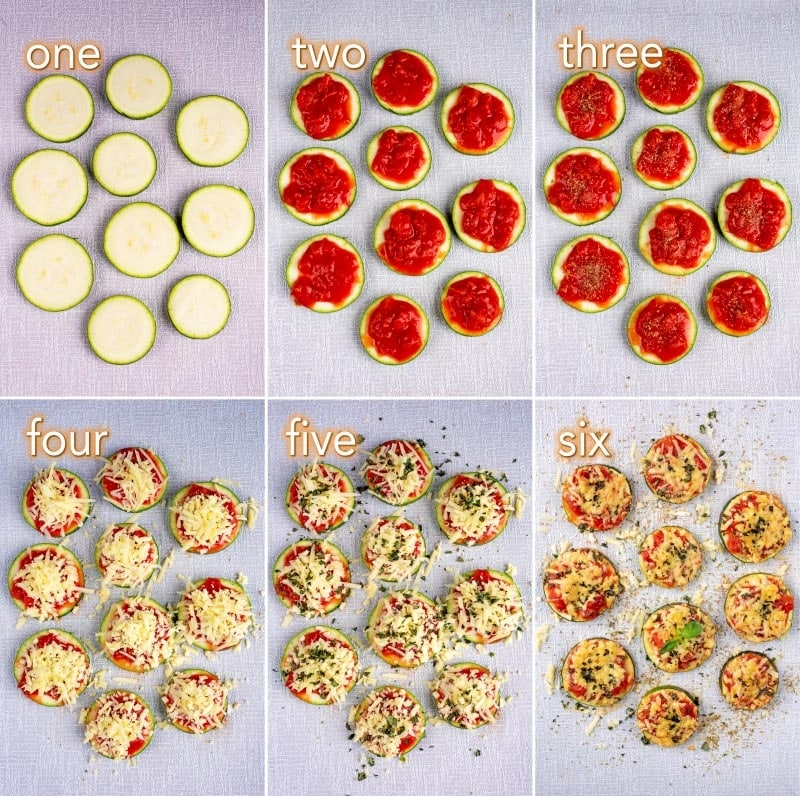 Step by step process showing how to make Courgette Pizza Bites