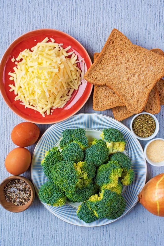Broccoli, cheese, bread, onion, eggs and spices