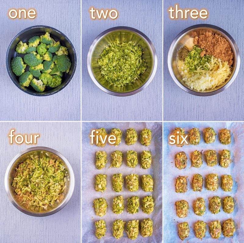 Step by step process of how to make Cheesy Baked Broccoli Bites