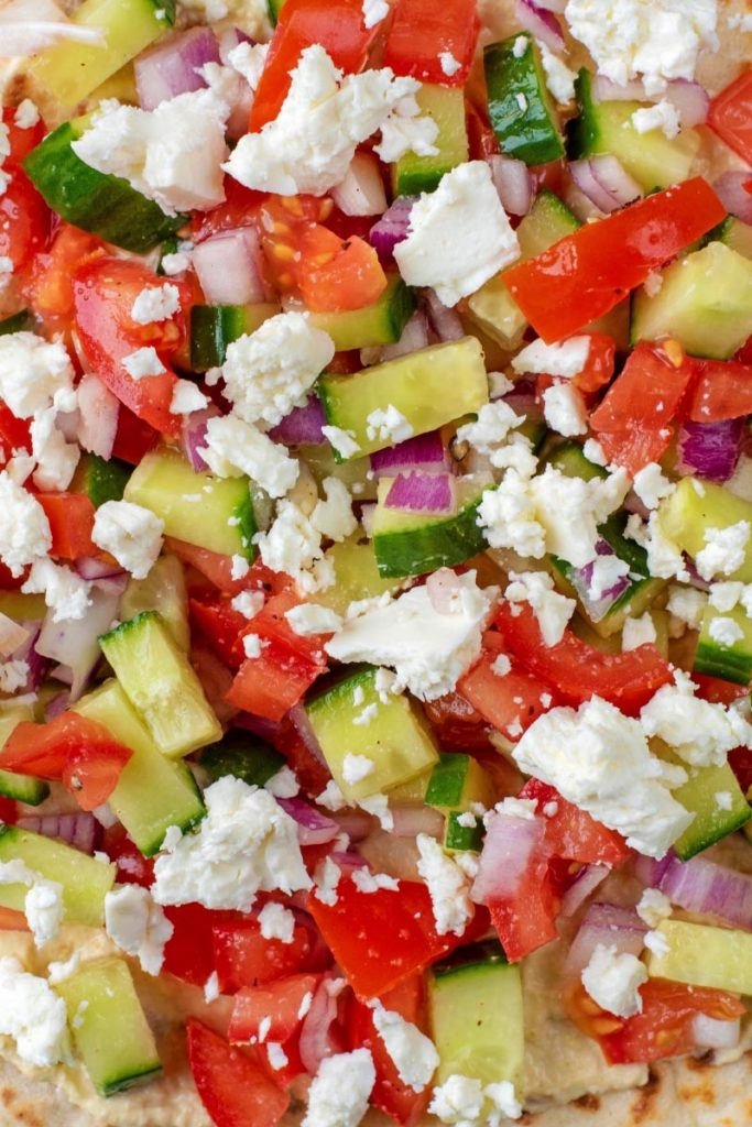 Chopped salad and crumbled feta