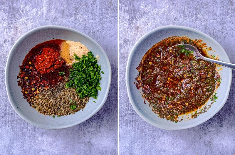 Collage of a marinade being mixed in a small bowl