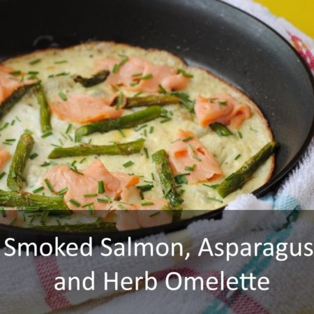 Smoked Salmon, Asparagus and Herb Omelette Featured