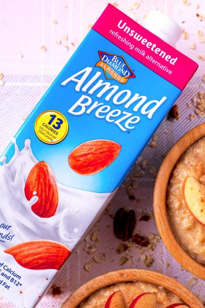 A carton on Blue Diamond Almond Breeze almond milk
