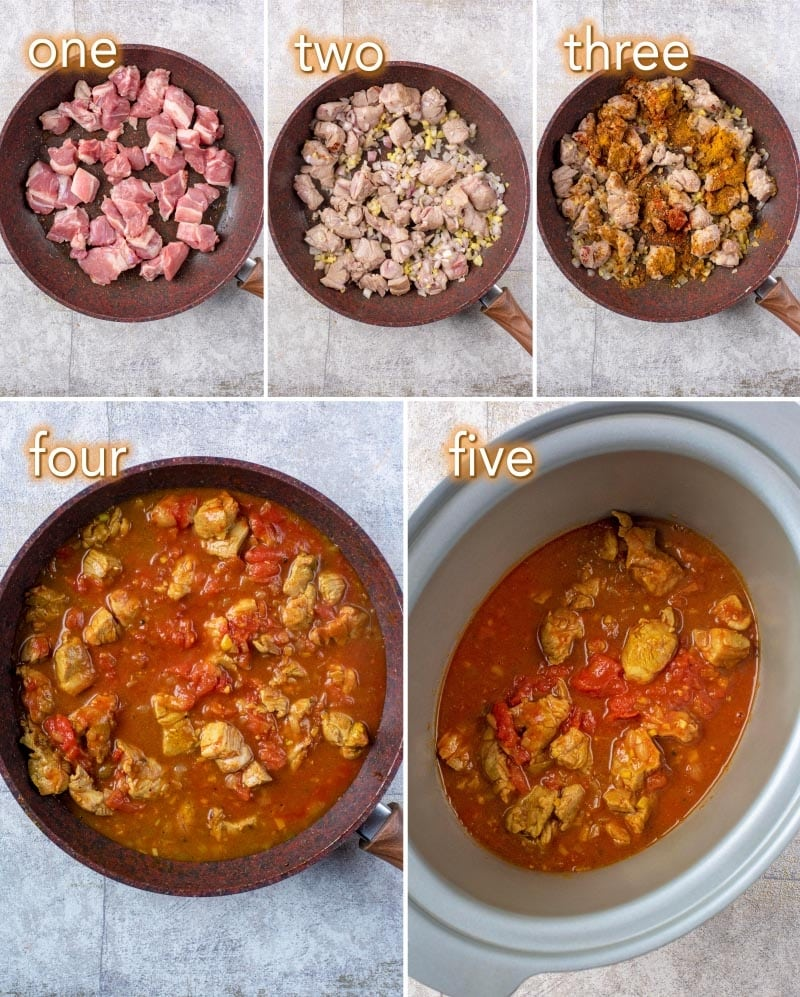 Five steps to making Slow Cooker Lamb Rogan Josh