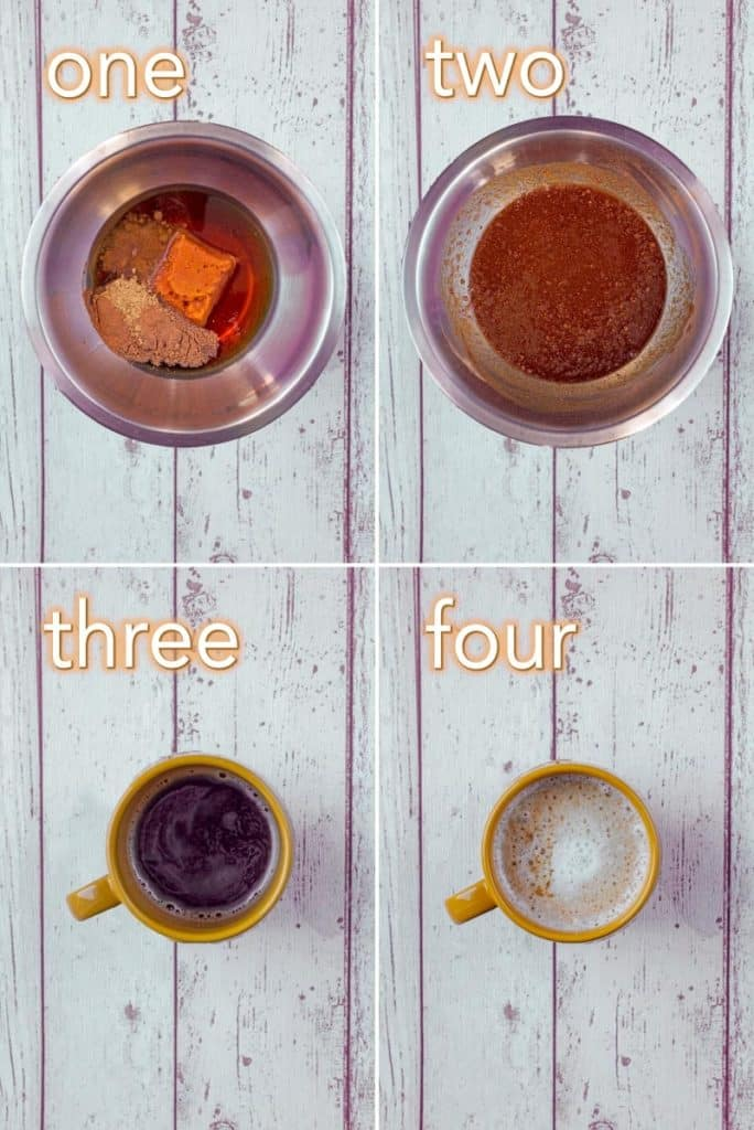 Step by step shots for making a Healthy Pumpkin Spiced Latte