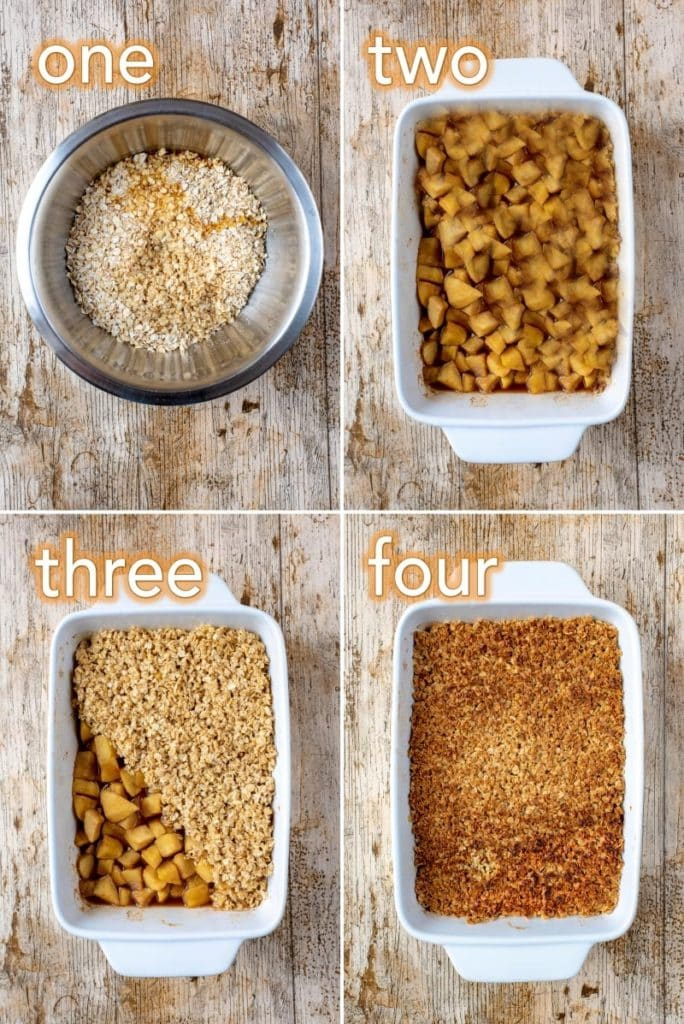 Step by step process of how to make Oaty Apple Crumble