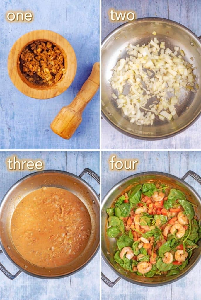Four steps to making Prawn, Tomato and Coconut Curry