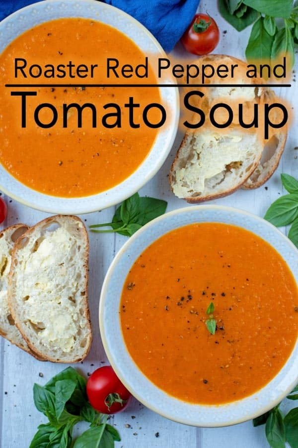 This rich, bright and creamy soup is packed full of vegetables and so easy to make, that you will never open a tin of soup again. Get ready for autumn and winter by making a big batch of this comforting and healthy Roasted Red Pepper and Tomato Soup. #soup #tomatosoup #redpepper #autumnrecipe #fallrecipe