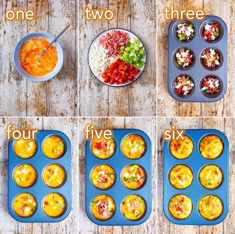 Step by step process of how to make Breakfast Egg Muffins