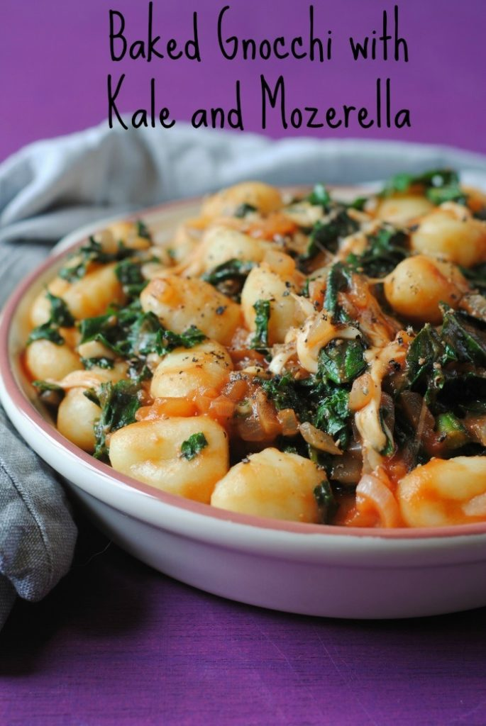 Baked Gnocchi with Kale and Mozzarella title
