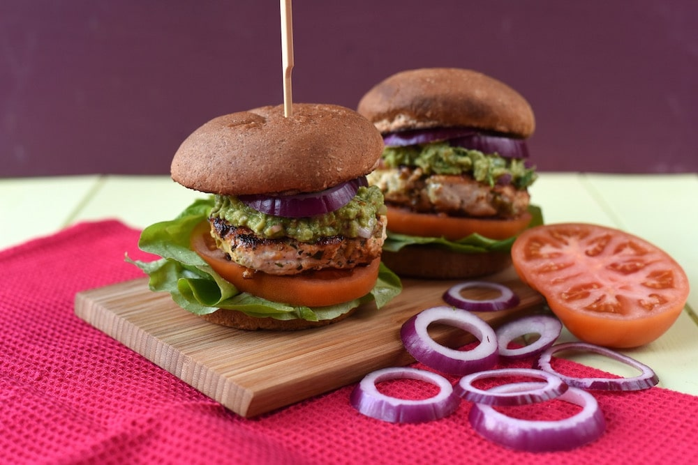 Chicken and Cheddar Guacamole Burgers