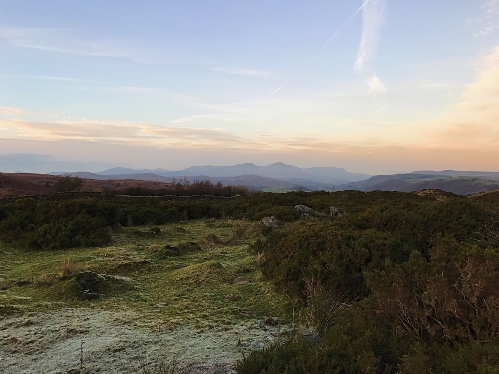 The view over the Lake District hills at dusk