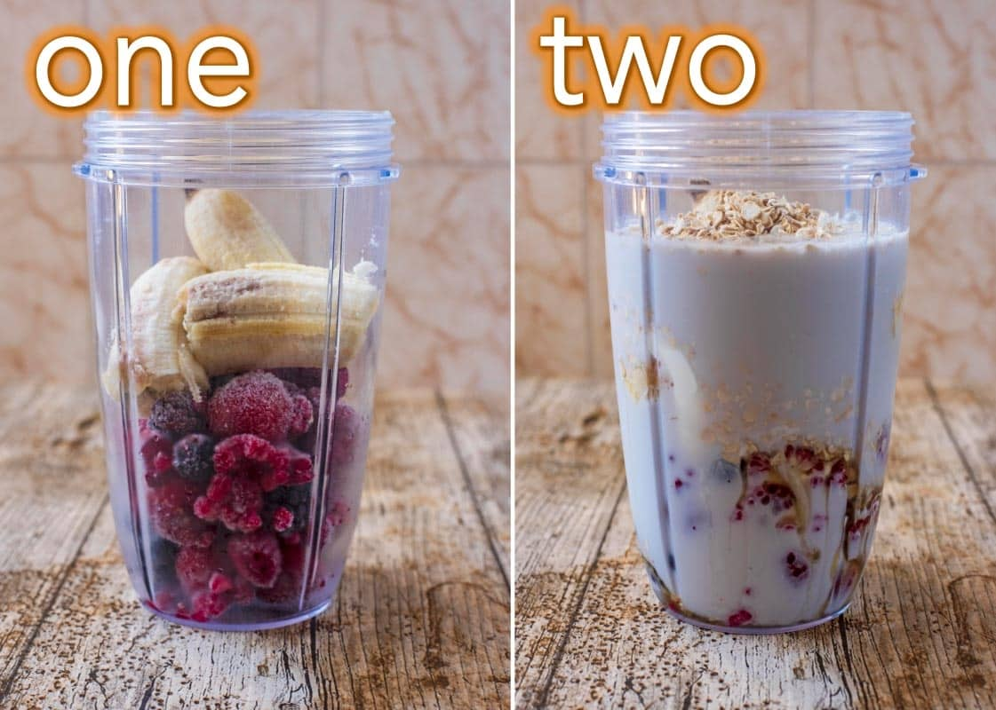 Process steps to making Triple Berry Oat Smoothie