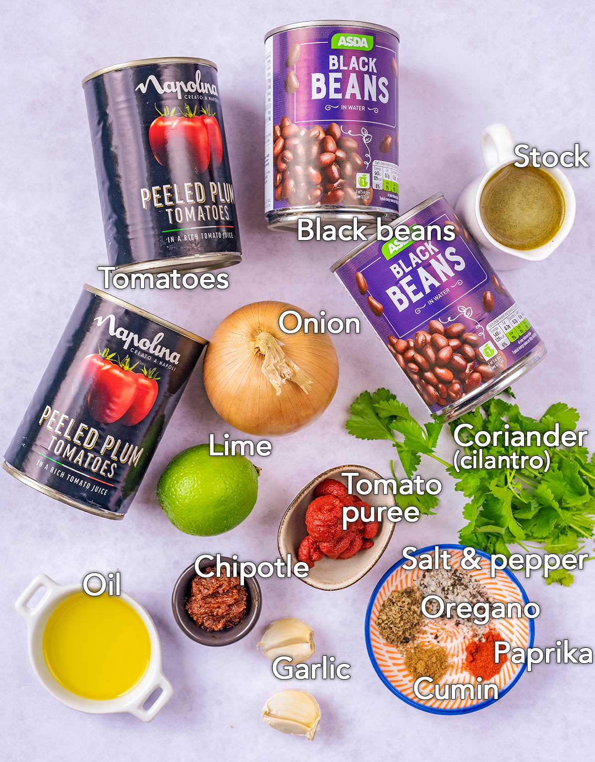 All the ingredients needed for this recipe with text overlay labels.